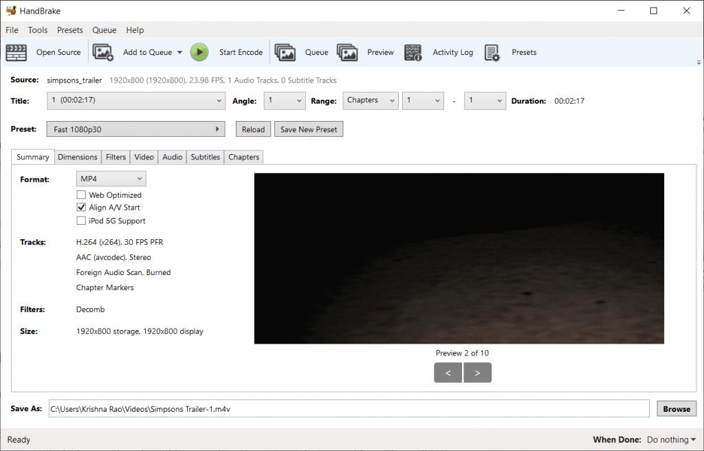 compress video using handbrake