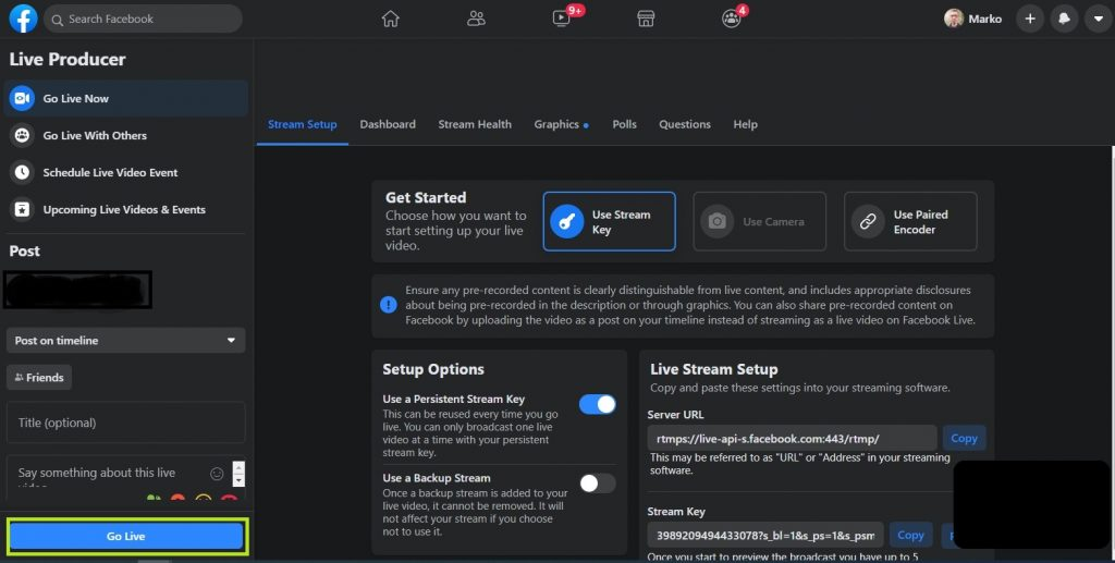 Live Streaming using OBS Studio to Facebook Live